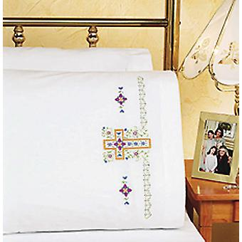 Religious Cross Pillowcase Pair Stamped Cross Stitch 20