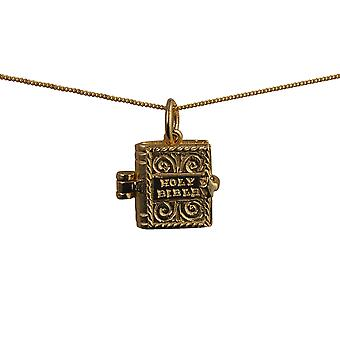 9ct Gold 12x11mm moveable Bible with the Hail Mary inside Pendant with a curb Chain 16 inches Only Suitable for Children