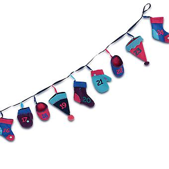 Multi-coloured Winter Accessories Washing Line Christmas Advent Calendar