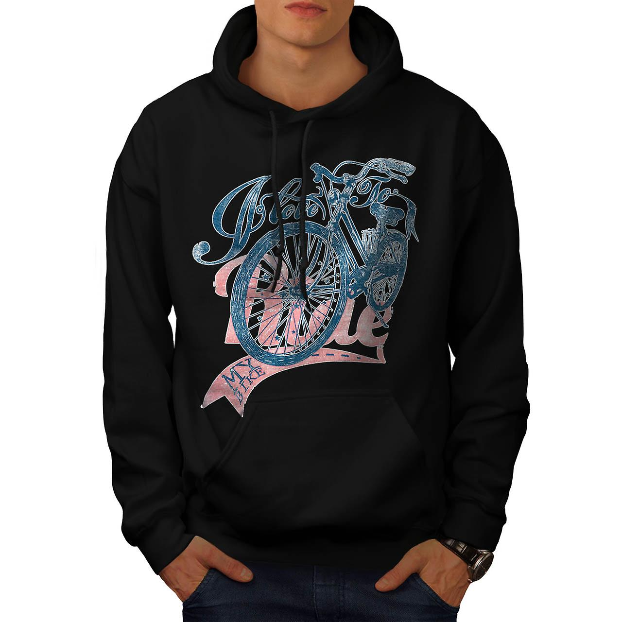 Love To Ride Cycling Bike Pedal Men Black Hoodie | Wellcoda