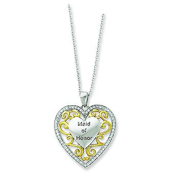 Ster. zilver Accent goud plating CZ Heart Necklace - 18 Inch