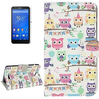Mobile case bag for mobile phone Sony Xperia E4 colorful OWL party