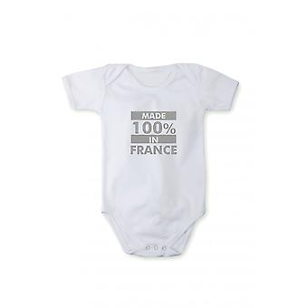 Baby body with shiny silver print made in France