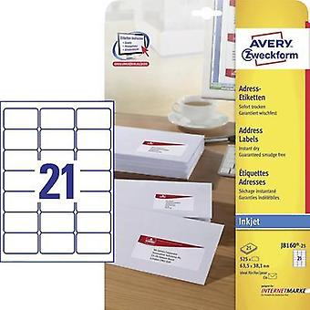 Avery-Zweckform J8160-25 Labels (A4) 63.5 x 38.1 mm Paper White 525 pc(s) Permanent Address labels, All-purpose labels I