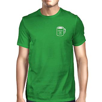 Coffee For Life Pocket Mans Kelly Green Tee Cute Typographic Tee