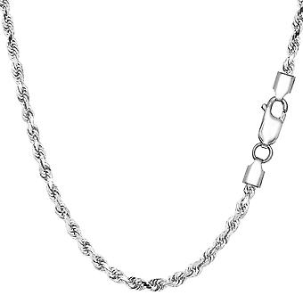 Sterling Silver Rhodium Plated Diamond Cut Rope Chain Necklace, 2.9mm