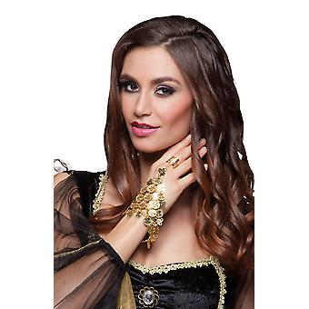 Adults Belly Dancer Gold Hand Chain and Ring Fancy Dress Accessory