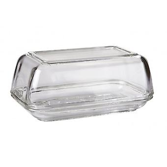 Cow Embossed Glass lidded Butter dish