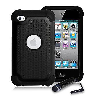 Stoßfest Case Cover + Stift für Apple iPod Touch 4 - schwarz