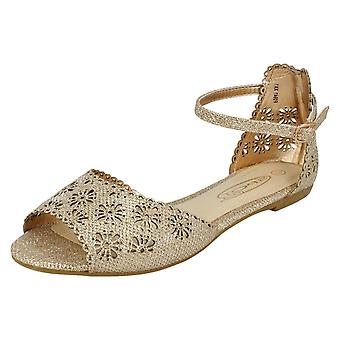 Ladies Spot On Floral Design Vamp Sandals