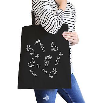 Patrón de conejo lienzo negro bolso lindo Pascua conejitos bolsas