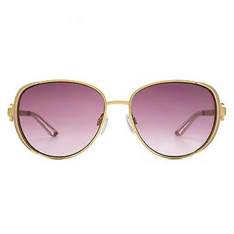 Kurt Geiger Beatrix Enamel Detail Metal Sunglasses In Shiny Gold