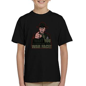 War Face Gunnery Sgt. Hartman Full Metal Jacket Kid's T-Shirt