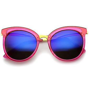 Dame rundt overdimensionerede gennemsigtig høj tempel farve spejlet linse Cat Eye solbriller