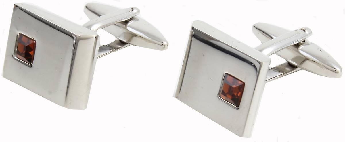 David Van Hagen Rectangle Crystal Cufflinks - Silver/Red
