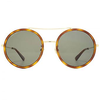 Gucci Double Bridge Metall Runde Sonnenbrille In Havanna Gold