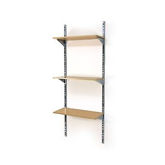 Twin Slot Wall Mounted Shelving With 3 Wooden Shelves