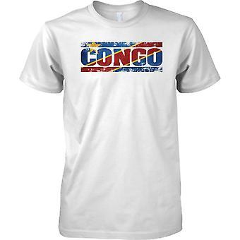 Kongo-Grunge Land Name Flag-Effekt - Kinder T Shirt