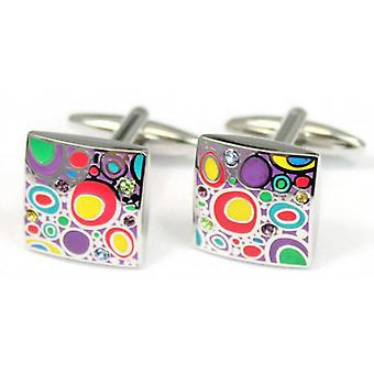 Posh and Dandy Abstract Shapes Cufflinks - Silver/Multi-colour