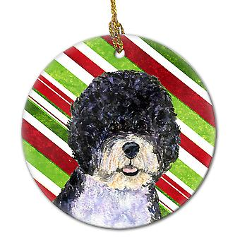 Portugisisk vannhund Candy Cane Holiday Christmas keramiske Ornament SS4559