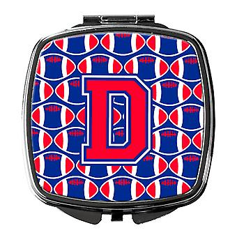 Letter D Football Harvard Crimson and Yale Blue Compact Mirror