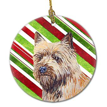 Cairn Terrier Candy Cane Holiday Christmas Ceramic Ornament LH9230