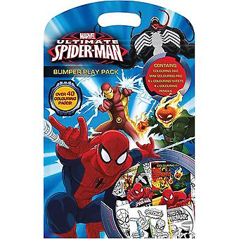 Ultimate Spiderman Bumper Play Pack - Colouring Pad , Pencils and Sheets