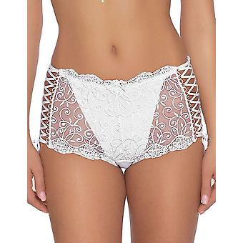 Roza Women's Ginewra White Floral Lace Embroidered Full Panty Highwaist Brief
