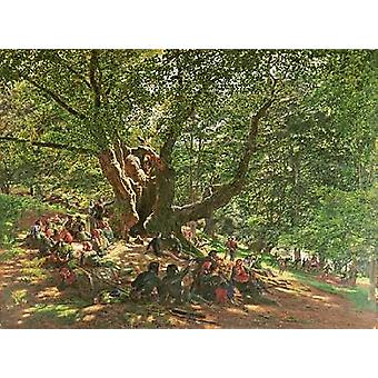 Robin Hood and His Merry Men In Sherwood Forest Poster Print by Edmund Warren George