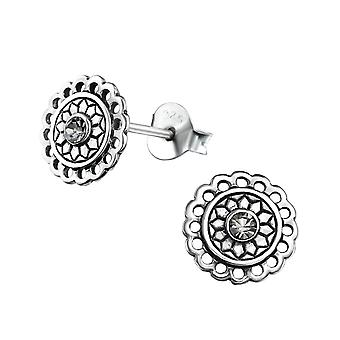 Bali Runde - 925 Sterling Silber Crystal Ohrstecker - W31070x
