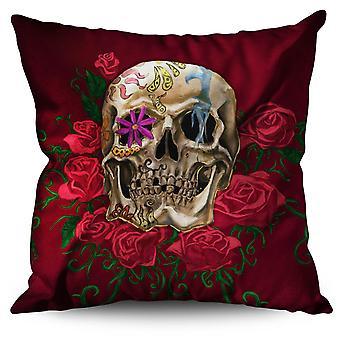 Rose Metal Death Skull Linen Cushion Rose Metal Death Skull | Wellcoda