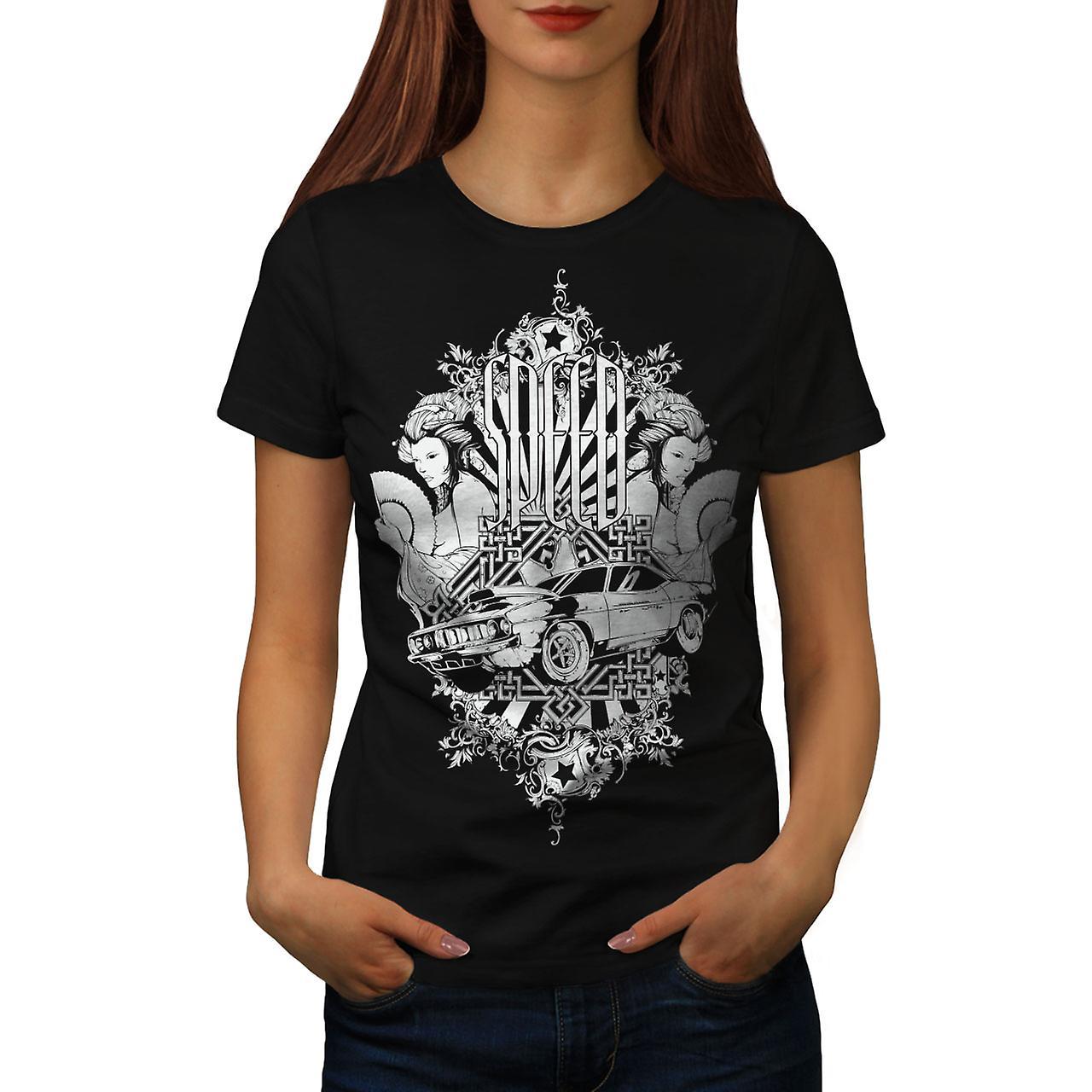 Speed Vintage Girl Car Women Black T-shirt | Wellcoda