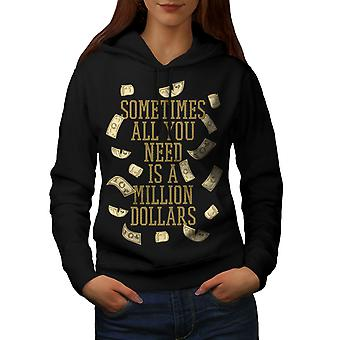 Million dollars Women BlackHoodie | Wellcoda