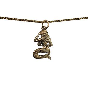 9ct Gold 21x14mm Mermaid Pendant with a spiga Chain 16 inches Only Suitable for Children