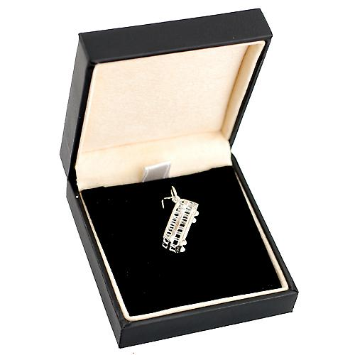 Silver 20x8mm double decker bus Pendant or Charm
