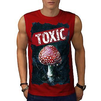 Toxic Mushroom Nature Men RedSleeveless T-shirt | Wellcoda