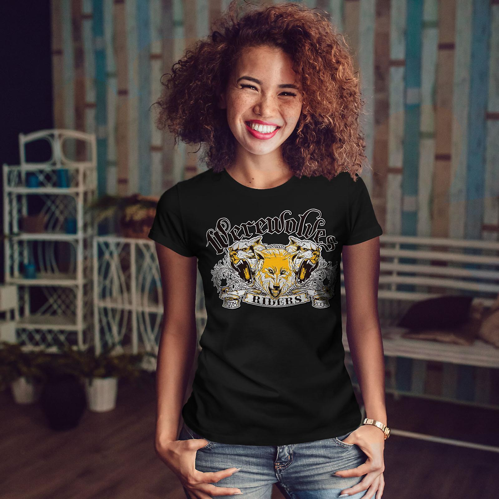Werewolves Riders Biker Women Black T-shirt   Wellcoda
