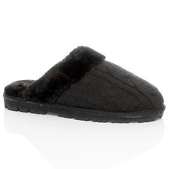 Forrado de piel de imitación de piel de oveja de invierno plana de Ajvani mujeres resbalón encendido calzados zapatillas mulas