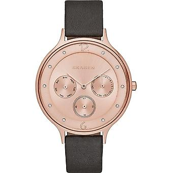 Skagen Skw2392 Anita Rose Gold & Grey Leather Multi-functional Ladies Watch