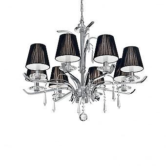 Ideal Lux Academy stora 8 ljus kristallkrona krom med svart lampa nyanser