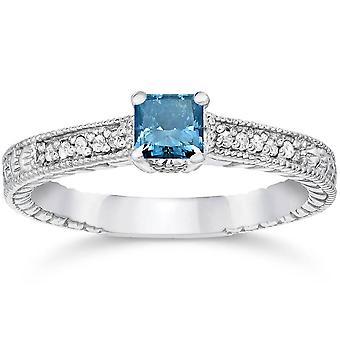1/2 ct プリンセス カット アンティーク ブルー ダイヤモンド婚約指輪ホワイトゴールド