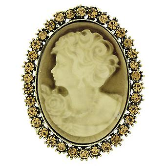 Brooches Store Light Topaz Crystal & Antique Silver Oval Cameo Brooch