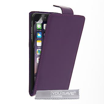 Iphone 6 Plus and 6s Plus Leather-Effect Flip Case - Purple