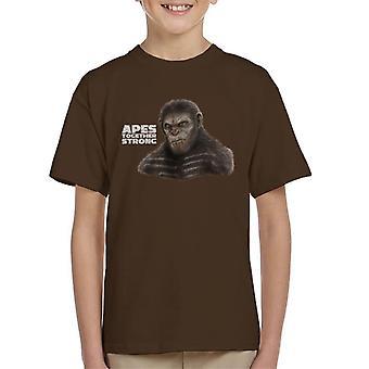 Cæsar Planet av Apes sammen sterk Kids t-skjorte
