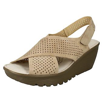 Ladies Skechers Platform Peep Toe Sandals Parallel Infrastructure - Dark Natural Leather - UK Size 9 - EU Size 42 - US Size 12