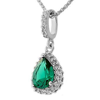 Orphelia Silver 925 Pendant Drop With Chain 42+3 Cm Emerald Color Zirconium  ZH-7226/EM