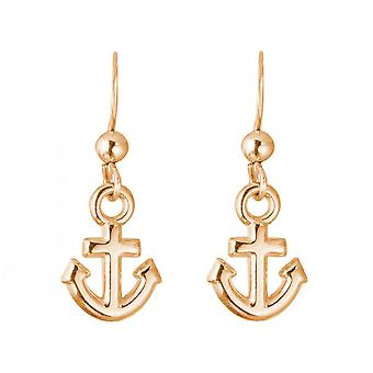 GEMSHINE Maritim Nautics earrings with anchor earrings in 925 Silver, high-quality gold-plated or rose in the Navy style - made in Madrid, Spain