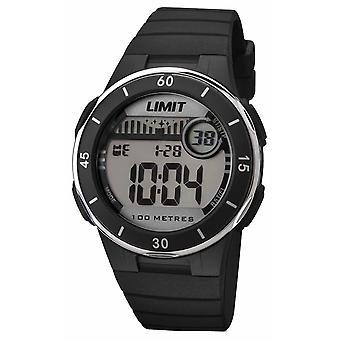 Gränsen Unisex svart läderrem Digital urtavla 5556.24 Watch