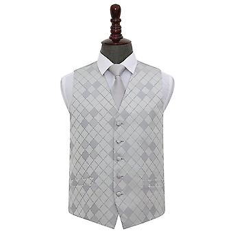 Silver Diamond Wedding Waistcoat & Tie Set