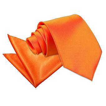 Brændt Orange almindelig Satin slips & lomme firkantet sæt